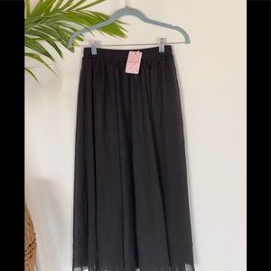 Long Pleated Black Skirt | lace girl size 8 | NWT